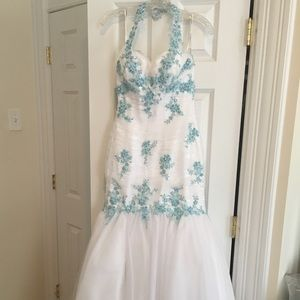 White & Blue Tony Bowls Gown